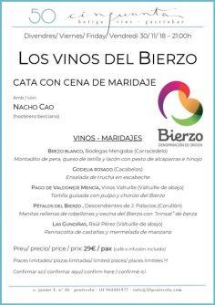30/11/18 – Los vinos del Bierzo, cata con cena de maridaje